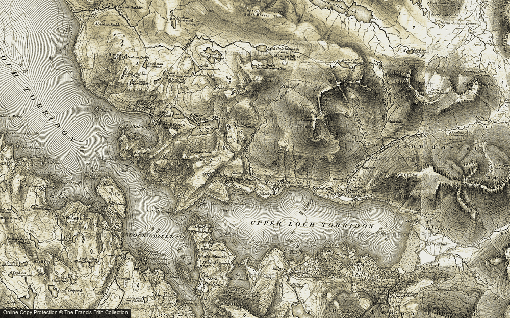 Old Map of Historic Map covering Abhainn Alligin in 1908-1909