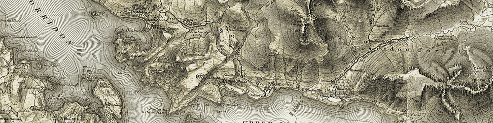 Old map of Alligin Shuas in 1908-1909