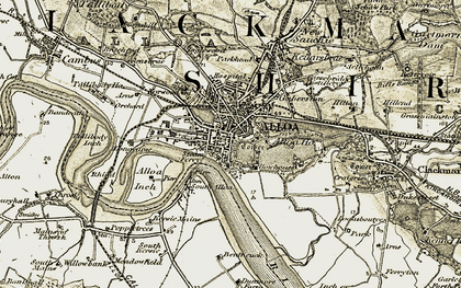Old map of Alloa in 1904-1907