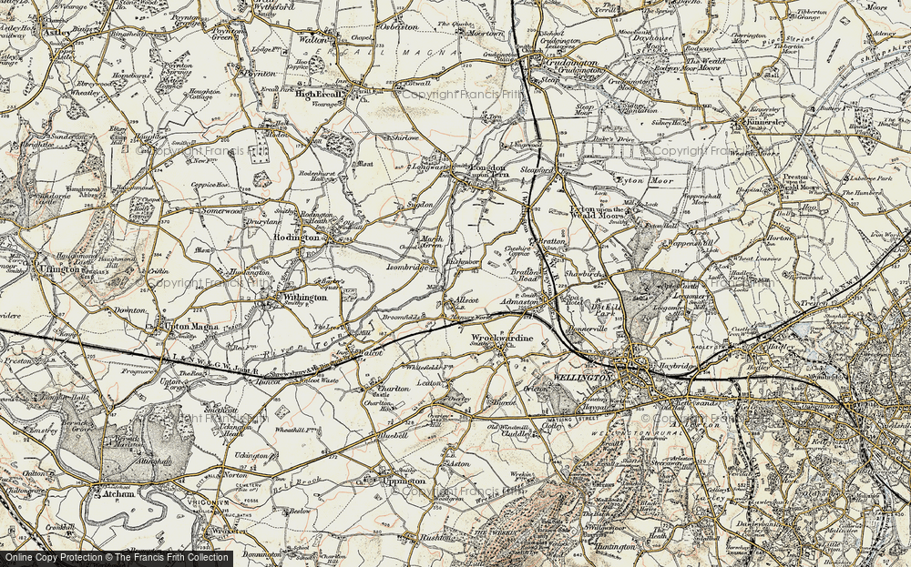 Old Map of Allscott, 1902 in 1902