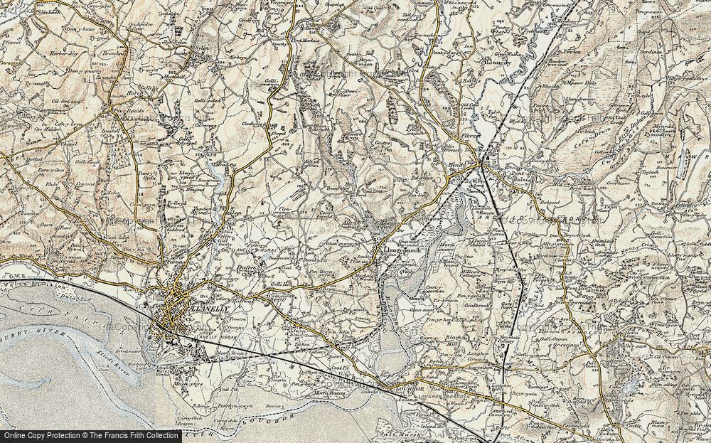Old Map of Historic Map covering Allt-y-frân Fawr in 1900-1901