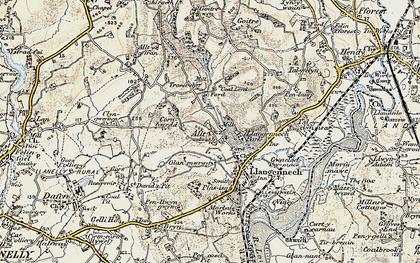Old map of Allt-y-frân Fawr in 1900-1901