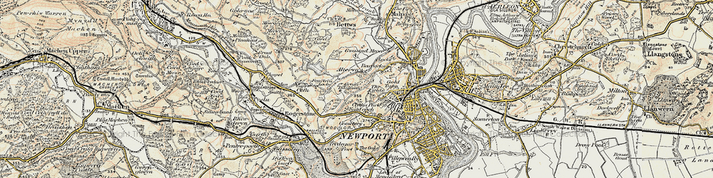 Old map of Allt-yr-yn in 1899-1900