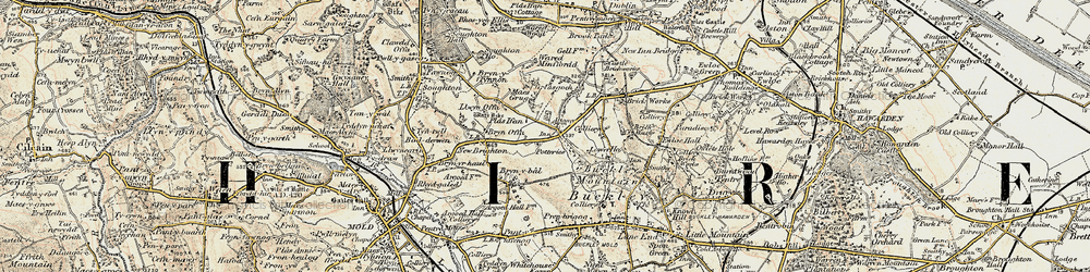 Old map of Tirlasgoch in 1902-1903