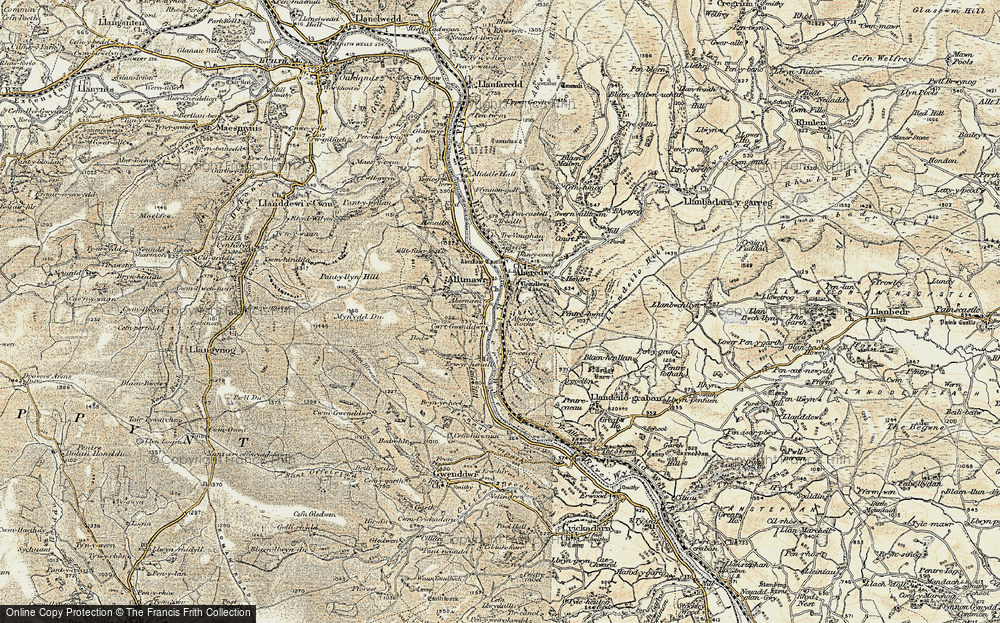 Old Map of Historic Map covering Aberedw Rocks in 1900-1902