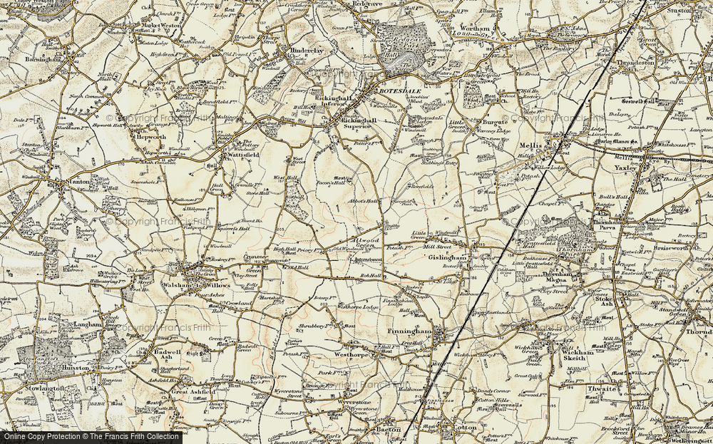 Old Map of Allwood Green, 1901 in 1901