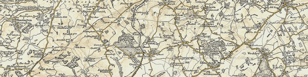 Old map of Almeley Wootton in 1900-1901