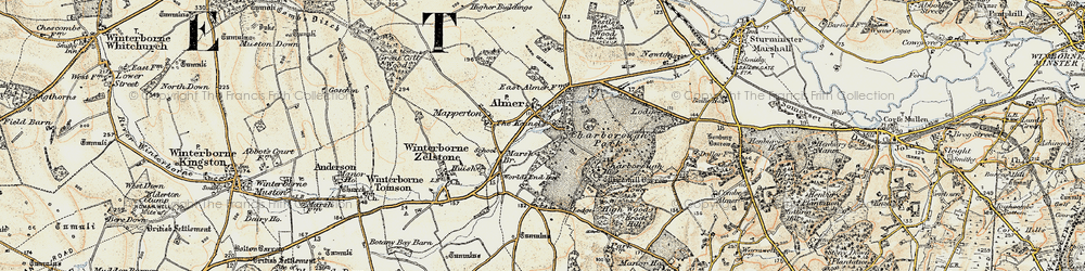 Old map of Almer in 1897-1909