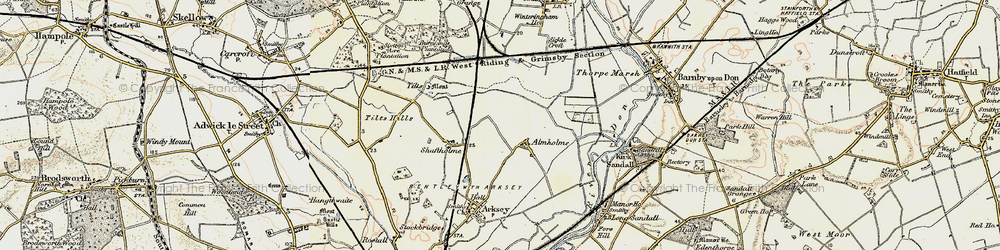Old map of Almholme in 1903
