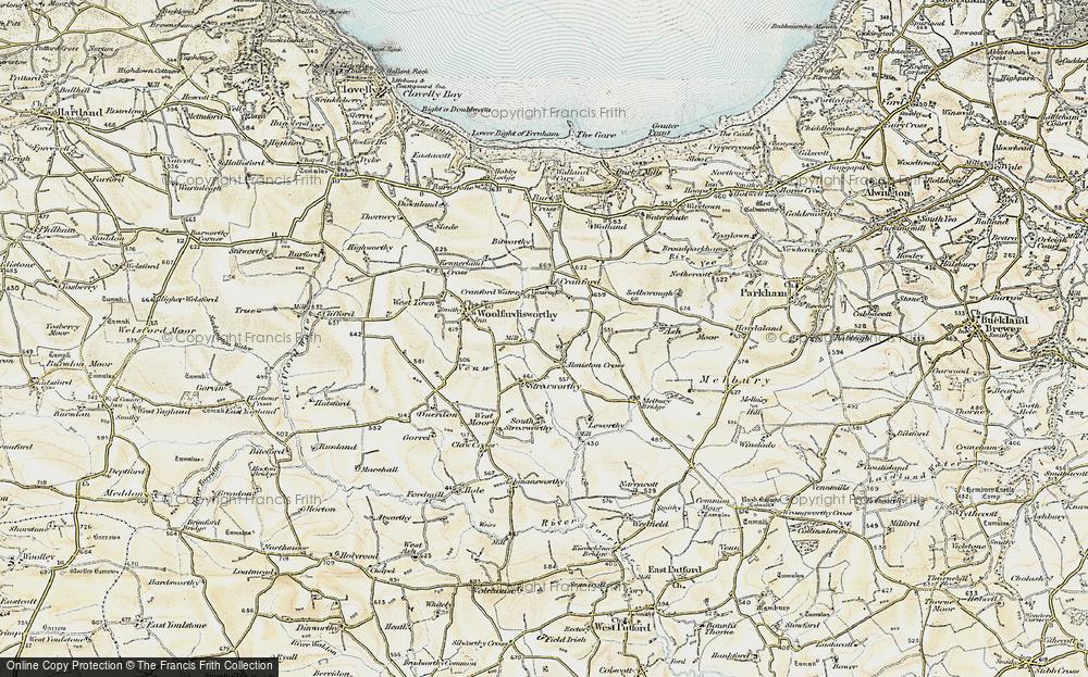 Old Map of Alminstone Cross, 1900 in 1900