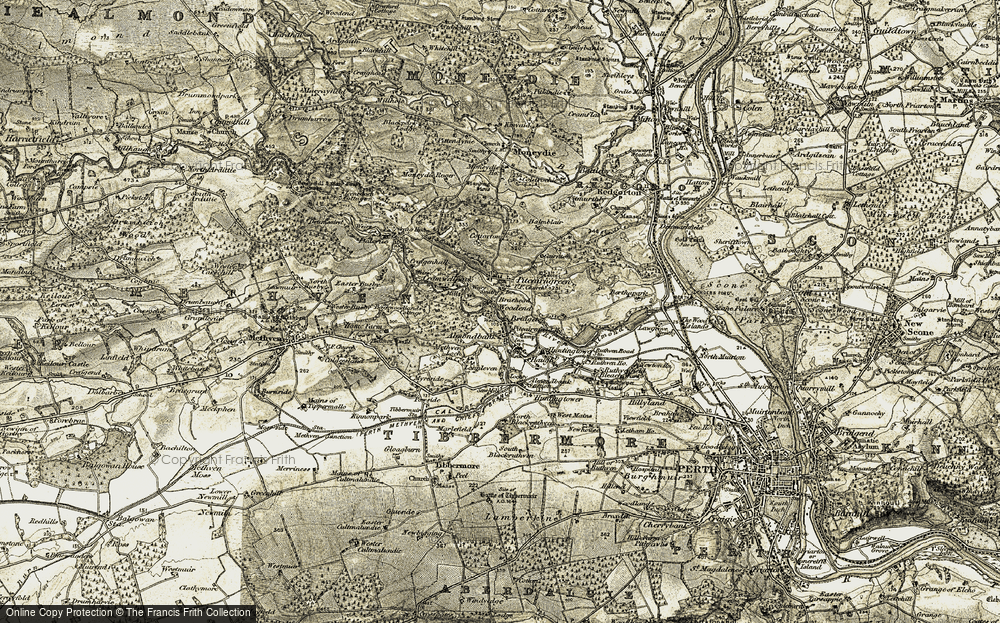 Old Map of Almondbank, 1907-1908 in 1907-1908