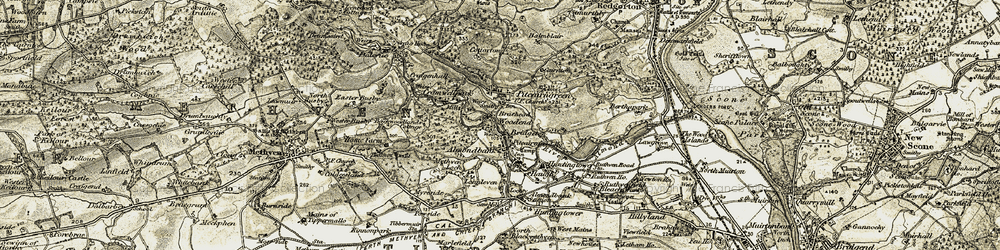 Old map of Almondbank in 1907-1908