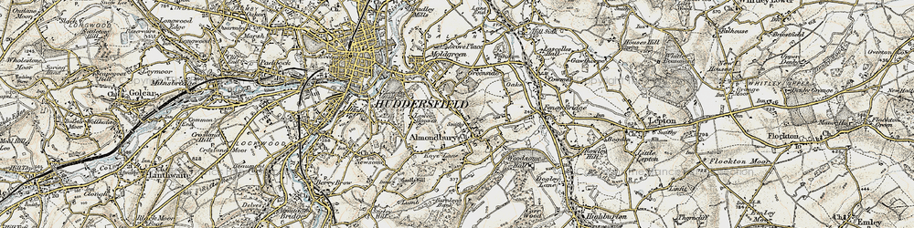 Old map of Almondbury in 1903