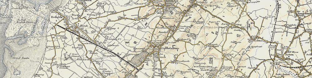 Old map of Almondsbury in 1899