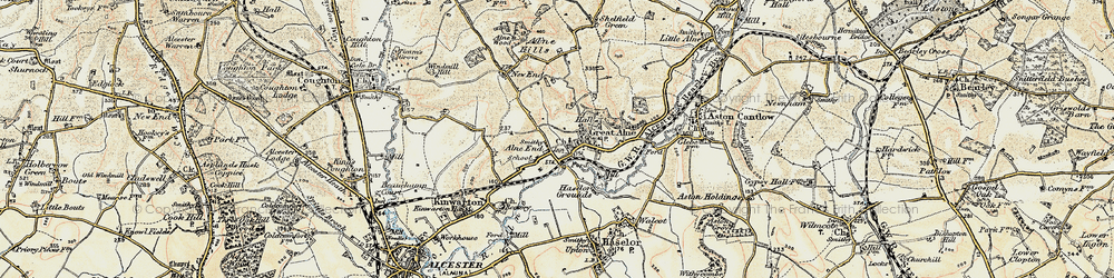 Old map of Alne End in 1899-1902