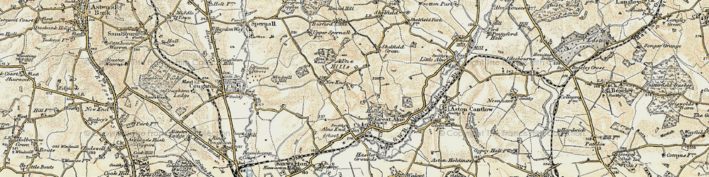 Old map of Alne Hills in 1899-1902