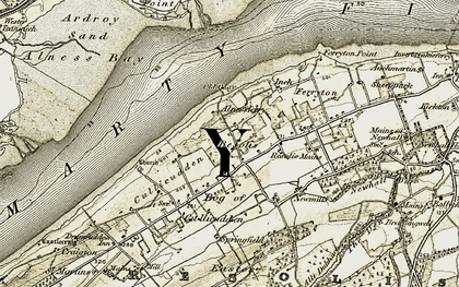Old map of Alnessferry in 1911-1912