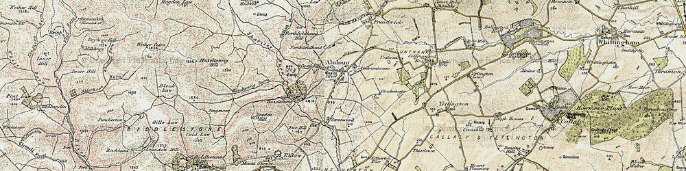 Old map of Alnham Ho in 1901-1903