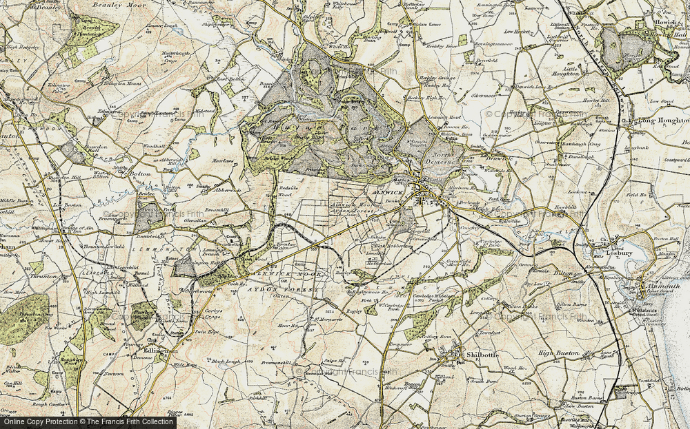 Old Map of Alnwick Moor, 1901-1903 in 1901-1903