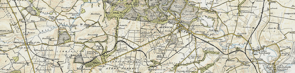 Old map of Alnwick Moor in 1901-1903