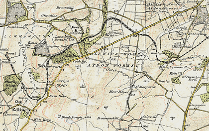 Old map of Alnwick Moor or Aydon Forest (Outer) in 1901-1903