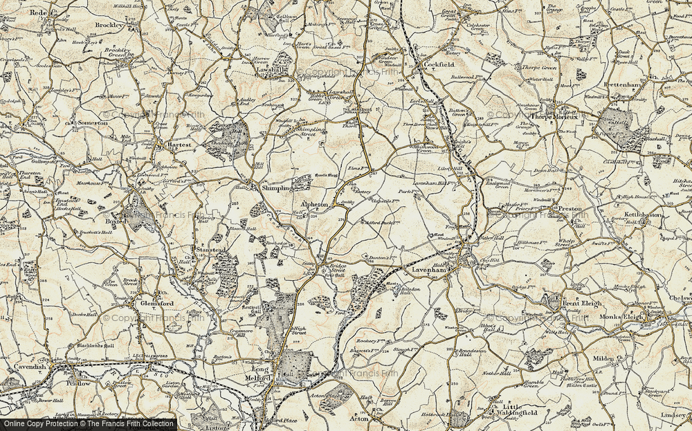 Old Map of Alpheton, 1899-1901 in 1899-1901