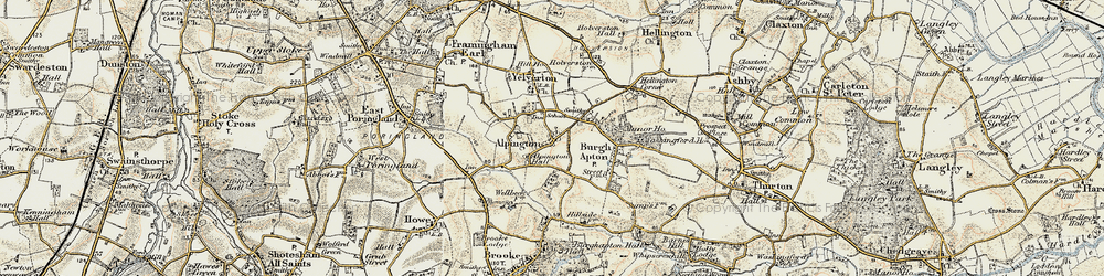 Old map of Alpington in 1901-1902