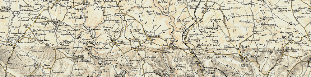Old map of Alstonefield in 1902-1903