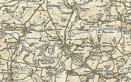 Old map of Alswear in 1899-1900