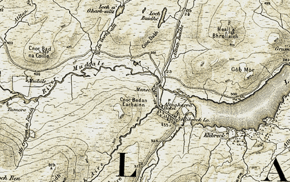 Old map of Altnaharra in 1910-1912
