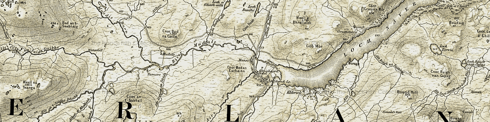 Old map of Allt a' Mhòid in 1910-1912