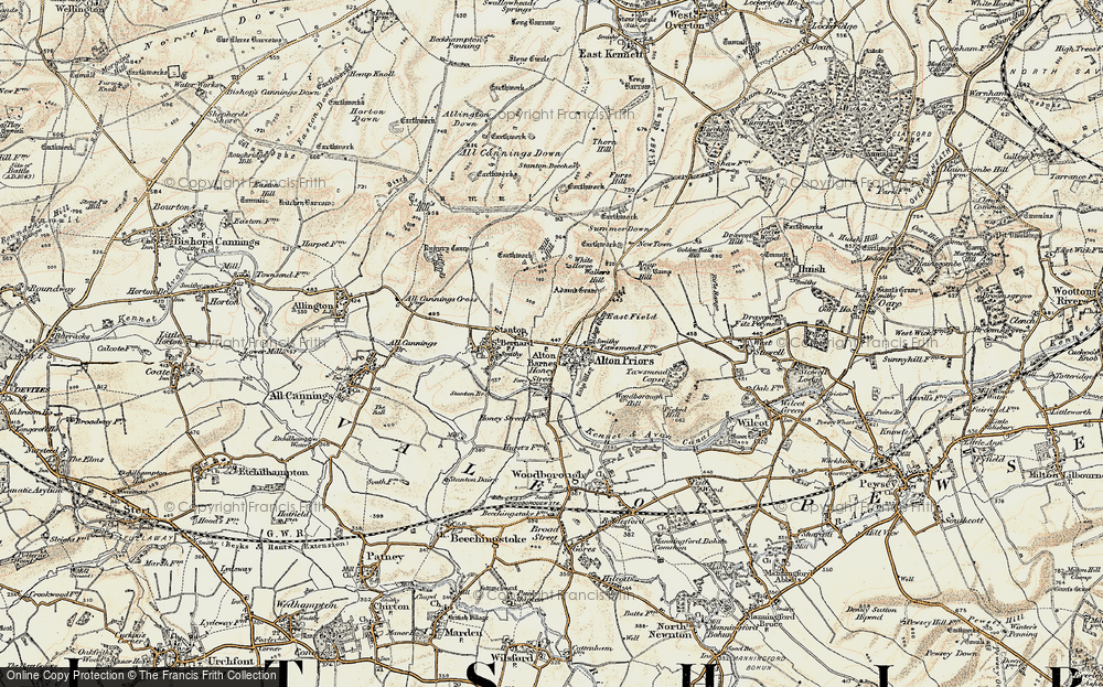 Old Map of Alton Barnes, 1898-1899 in 1898-1899