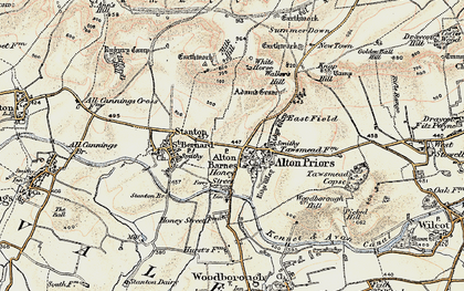 Old map of Alton Barnes in 1898-1899