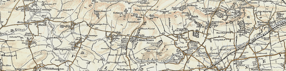 Old map of Adam's Grave (Long Barrow) in 1897-1899