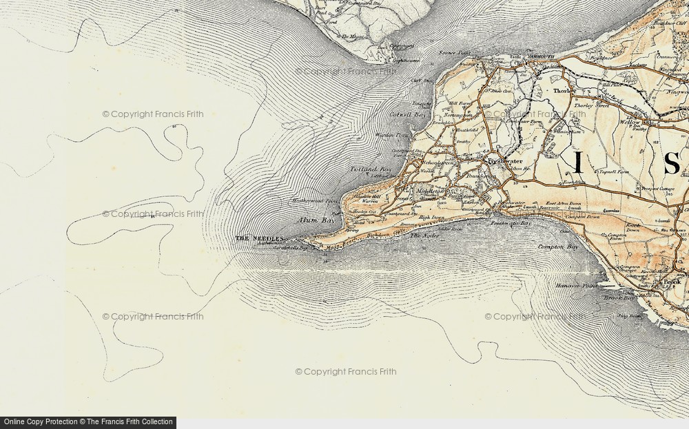 Old Map of Historic Map covering The Needles in 1899-1909