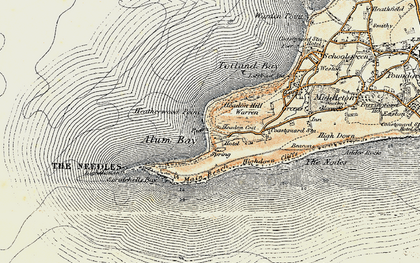 Old map of Alum Bay in 1899-1909