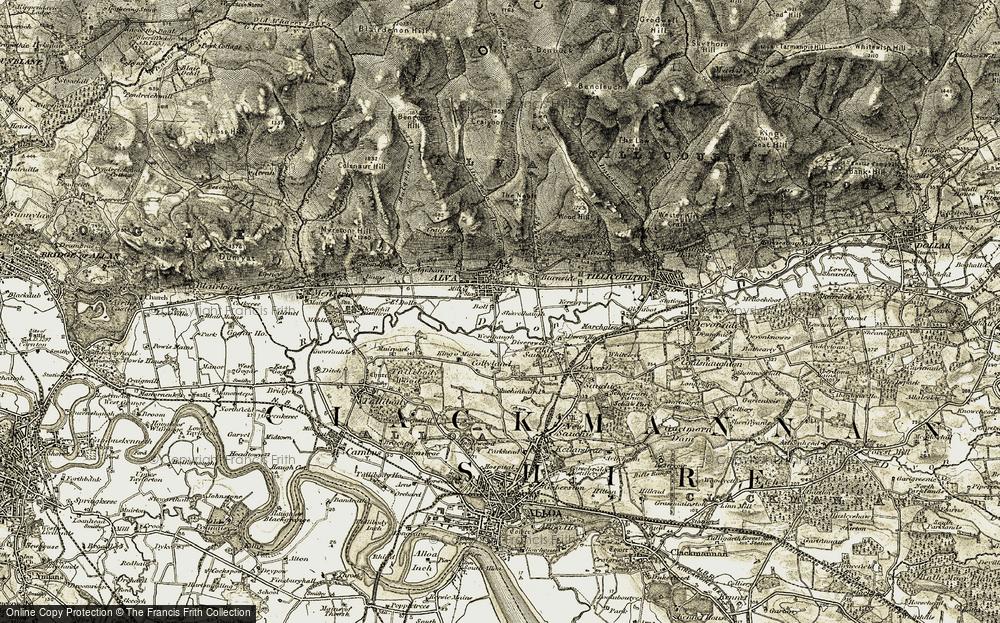 Old Map of Historic Map covering Alva Burn in 1904-1907