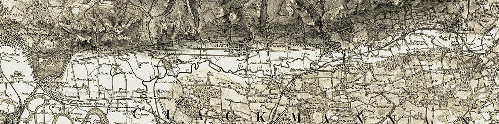 Old map of Alva Burn in 1904-1907