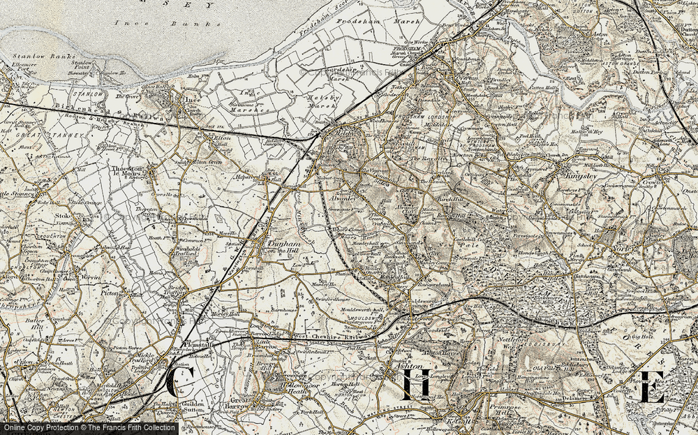 Old Map of Historic Map covering Alvanley Cliff in 1902-1903