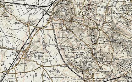 Old map of Alvanley Cliff in 1902-1903