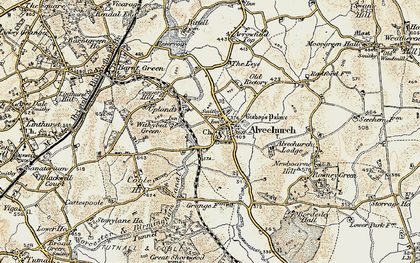 Old map of Alvechurch in 1901-1902