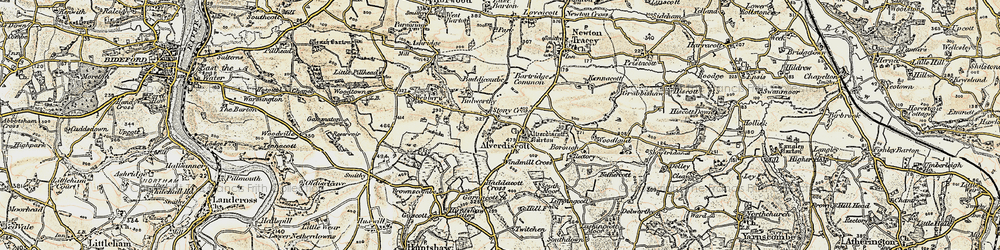 Old map of Lashingcott Moor in 1899-1900