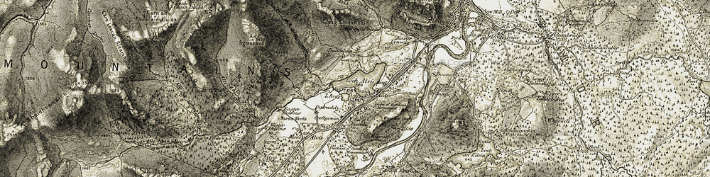 Old map of Allt Each in 1908