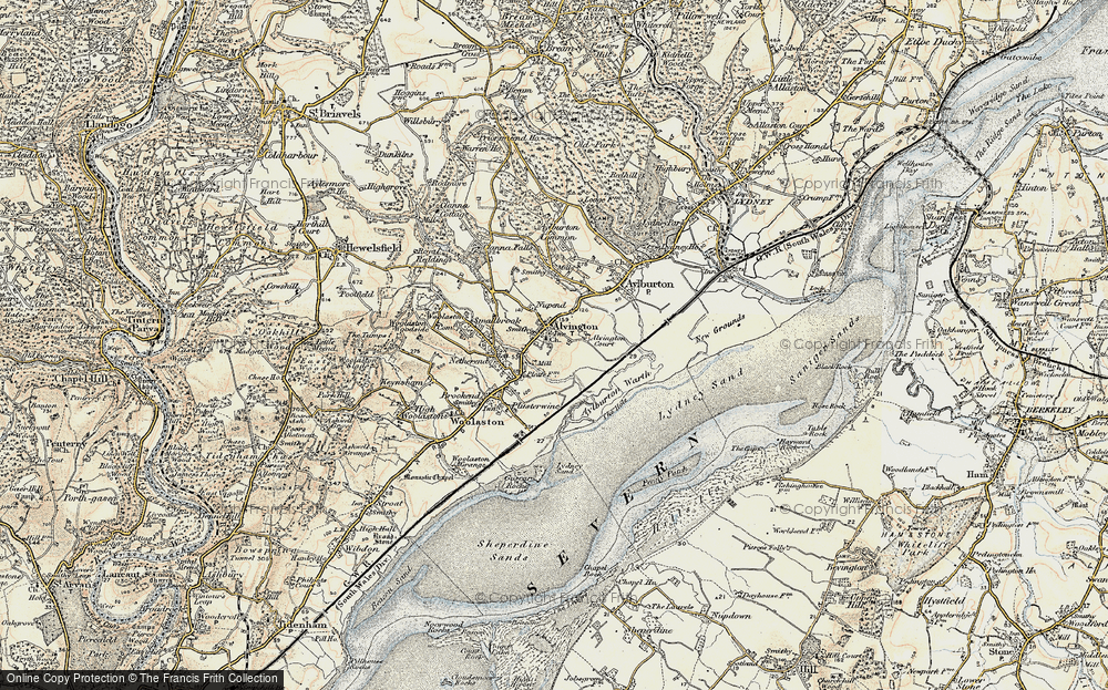 Old Map of Historic Map covering Aylburton Warth in 1899-1900