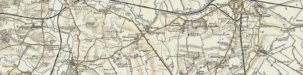 Old map of Alwalton in 1901-1902