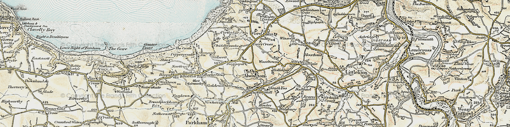 Old map of Alwington in 1900