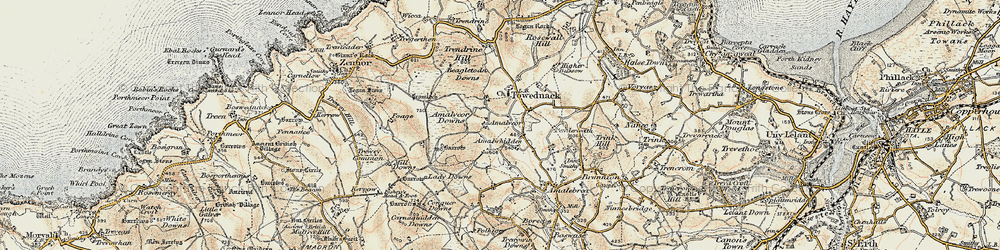 Old map of Amalveor Downs in 1900