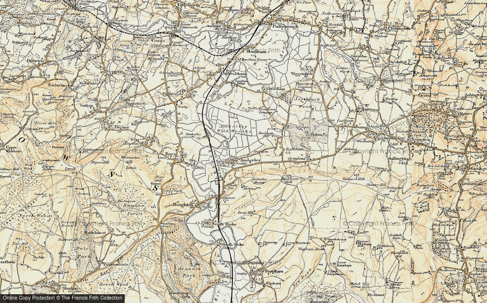 Old Map of Historic Map covering Amberley Wild Brooks in 1897-1899