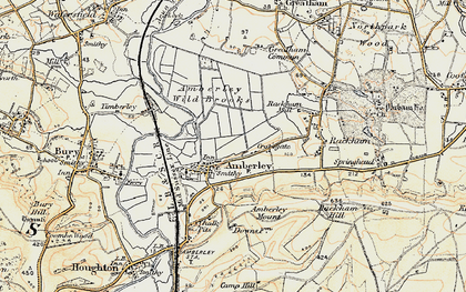 Old map of Amberley Wild Brooks in 1897-1899