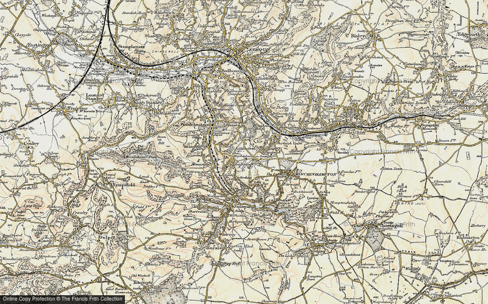 Old Map of Historic Map covering Whitfield's Tump (Long Barrow) in 1898-1900